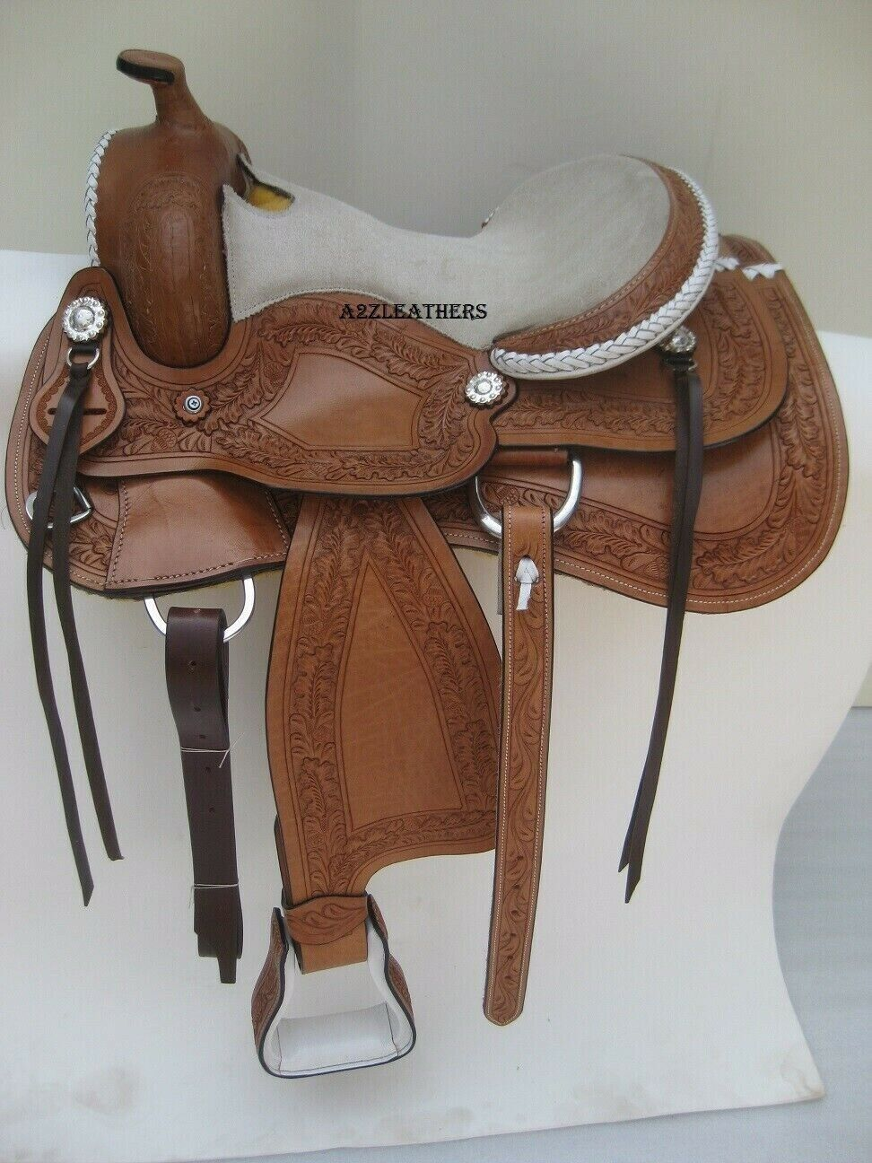 Designer carved Brown Western Leather Barrel racing saddle with White Suad Seat