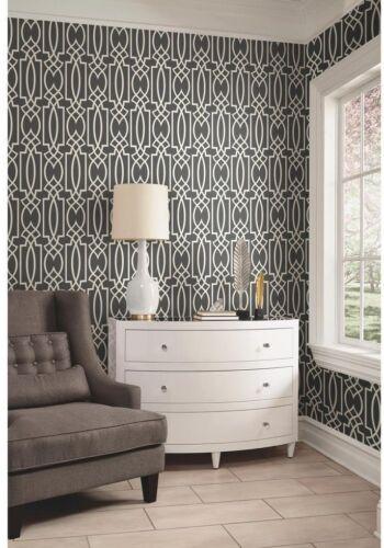 York Gray Lattice Watercolor Geometric Modern Geo Trellis Charcoal Wallpaper