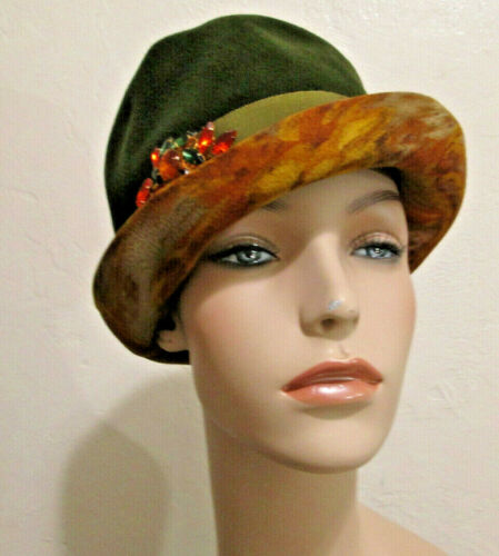 Vintage Wool Avocado Green Hat  Designed By Patric