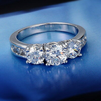 Size 7 or O 18K White Gold Filled Ring Sapphire Engagement Jewellery Unisex Gift