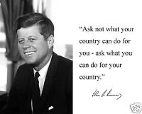 John F. Kennedy Jfk ask What You Autograph Quote 8 X 10 Photo Picture Bwpf1