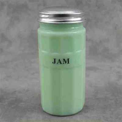 JADEITE GREEN GLASS JAM CANISTER w/ COLUMN DESIGN ~ Metal Lid ~