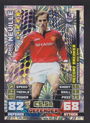 Match Attax 2014//2015-Record Breaker 439 Phil Neville-Manchester United