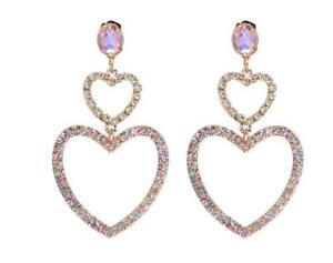 3-Drop-Long-lavender-oval-double-heart-Rhinestone-Dangle-Crystal-Prom-Earrings