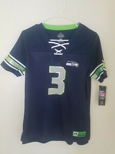 New Women s Majestic NFL Seattle Seahawks  3 Russell Wilson V-Neck ... 543dafc51