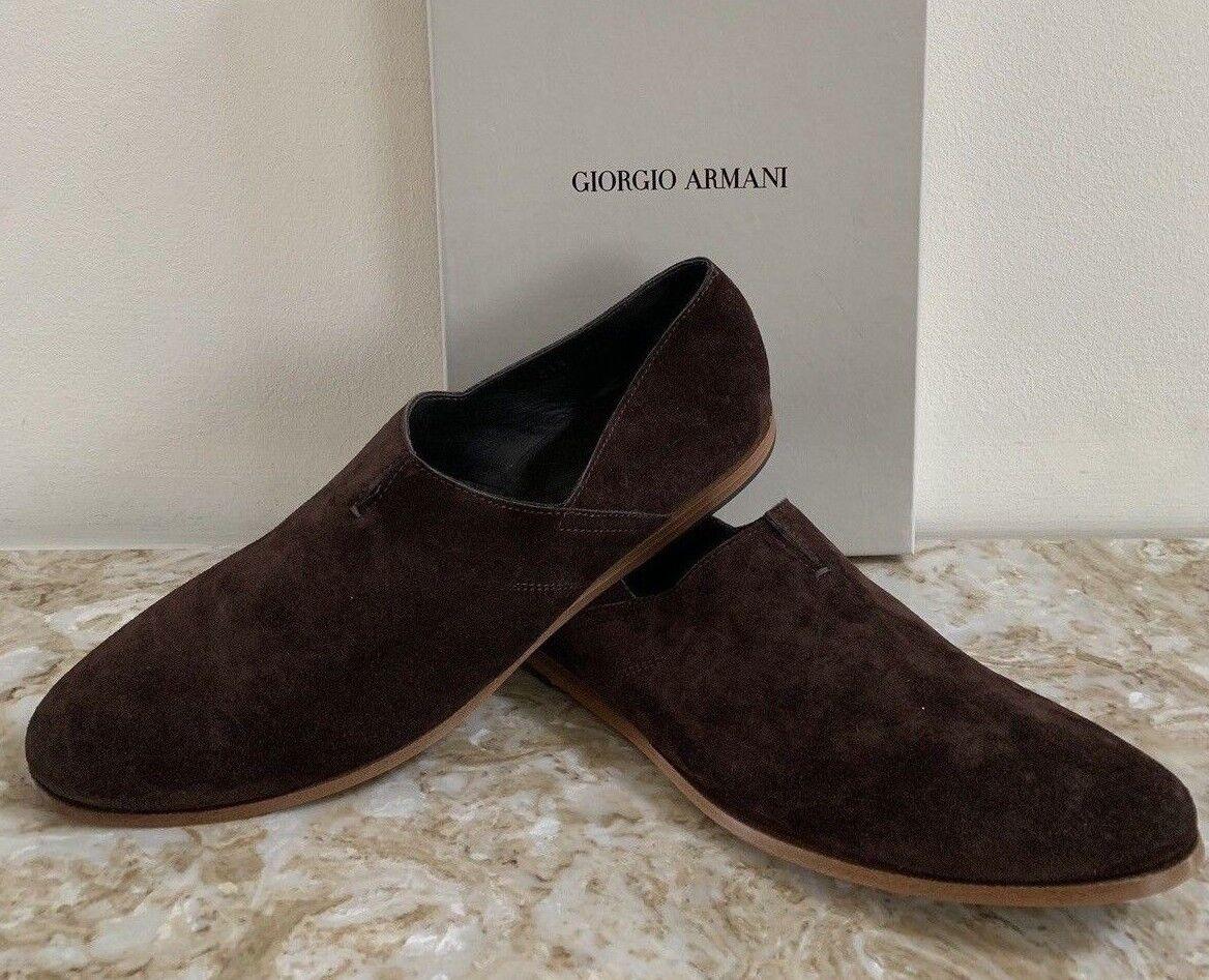 New GIORGIO ARMANI Brown Suede Loafers 41.5