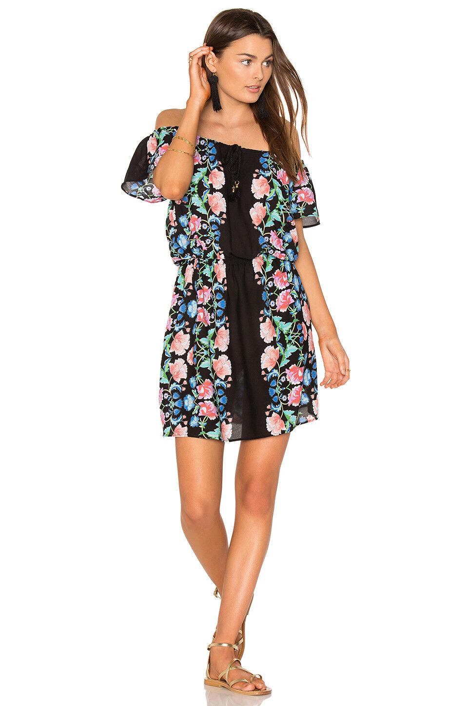 NEW Nanette Lepore Off the Shoulder Mini Dress Cover Up Damask Floral Multi L