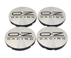 4-x-55mm-OZ-Racing-Silber-Schwarz-Nabenkappen-Nabendeckel-Satz-M582