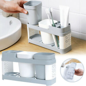 Toothbrush-Holder-Plastic-Cup-Set-Shelf-Bathroom-Toothpaste-Storage-Rack