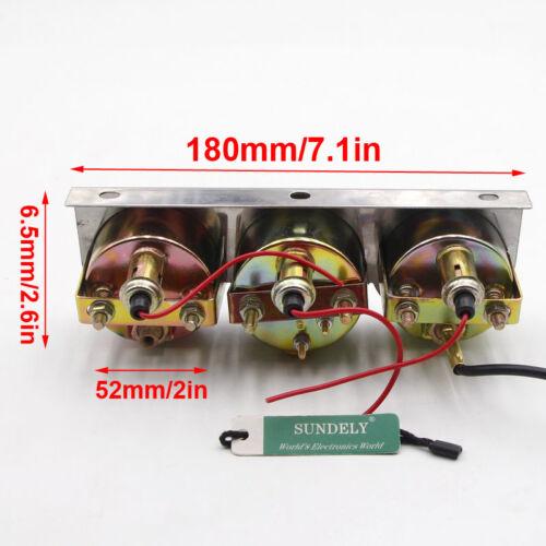"""2/"""" Triple Gauge Kit 3in1 Water Temp Voltage Volt Oil Pressure Gauge Car Meter"""