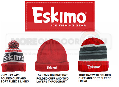 ESKIMO STRIPED Knit Hat WINTER HAT APPAREL RED ICE AUGERS FISHING HOUSE AUGER