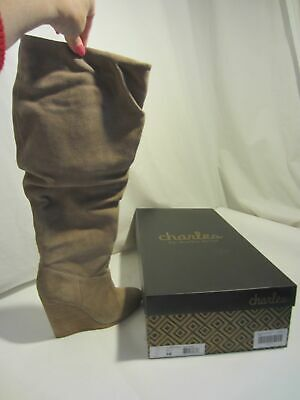 CHARLES DAVID Holly Taupe suede wedge