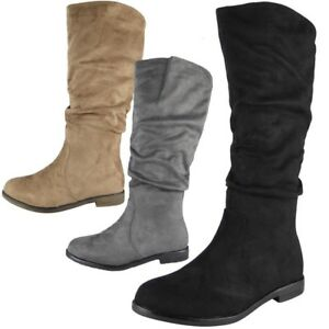Womens-Mid-Calf-Boots-Faux-Suede-Ladies-Rouched-Pixie-Slouch-Low-Heel-Shoes-Size