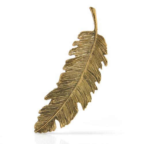 Women Vintage Feather Leaf Hair Clip Hairpin Barrette Hair Bobby Pins Gold