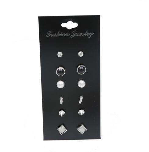 8//12Pcs Fashion Ear Stud Set Boho Earrings Women Vintage Turquoise Craystal