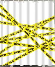 Yellow Police Warning Tape On White Background Bathroom Shower Curtain Polyester