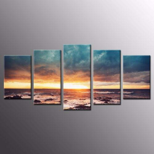 FRAMED Sunset Waves Photo Canvas Prints Home Wall Art for Living Room Decor5pcs