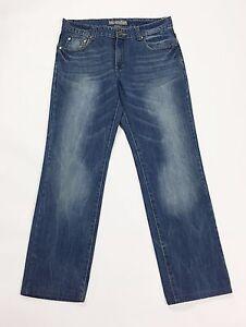 DND-jeans-uomo-W32-tg-46-gamba-dritta-accorciati-usati-boyfriend-blu-T2044