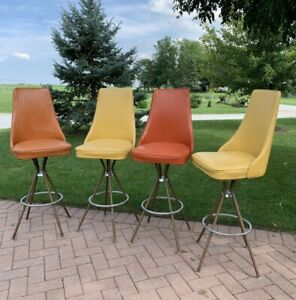 Fantastic Details About Vintage Mid Century Modern Metal Chrome Vinyl 4 Swivel Bar Stools Chair Stools Dailytribune Chair Design For Home Dailytribuneorg
