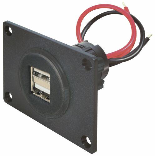 2xUSB Doppel Einbau Steckdose Powerdose mit Frontplatte für KFZ Auto 2x2500mA