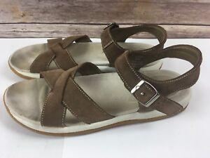 f3f58cfd7483 Vtg Lands End Sandals 9 Brown Leather 2 Strap Casual Walking Comfort ...