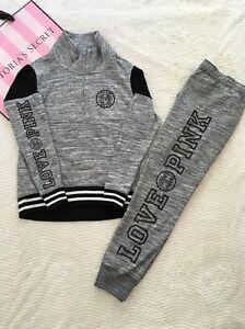 Victorias-Secret-PINK-Bling-Pullover-XS-Pants-Medium-Set-in-Marled-Grey