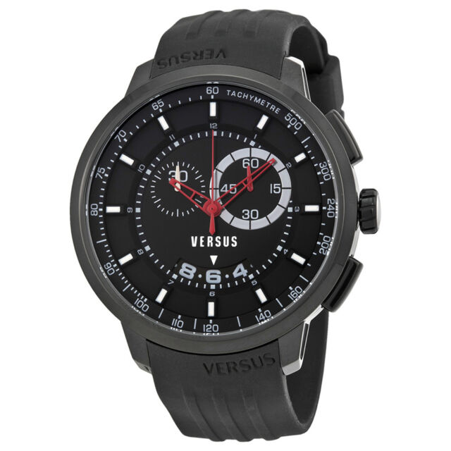 Versus by Versace Manhattan Chronograph Black Dial Black Rubber Mens Watch