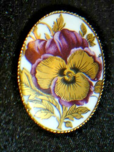 Vintage Porcelain  Hand Paint Pansy Flowers Pin Br