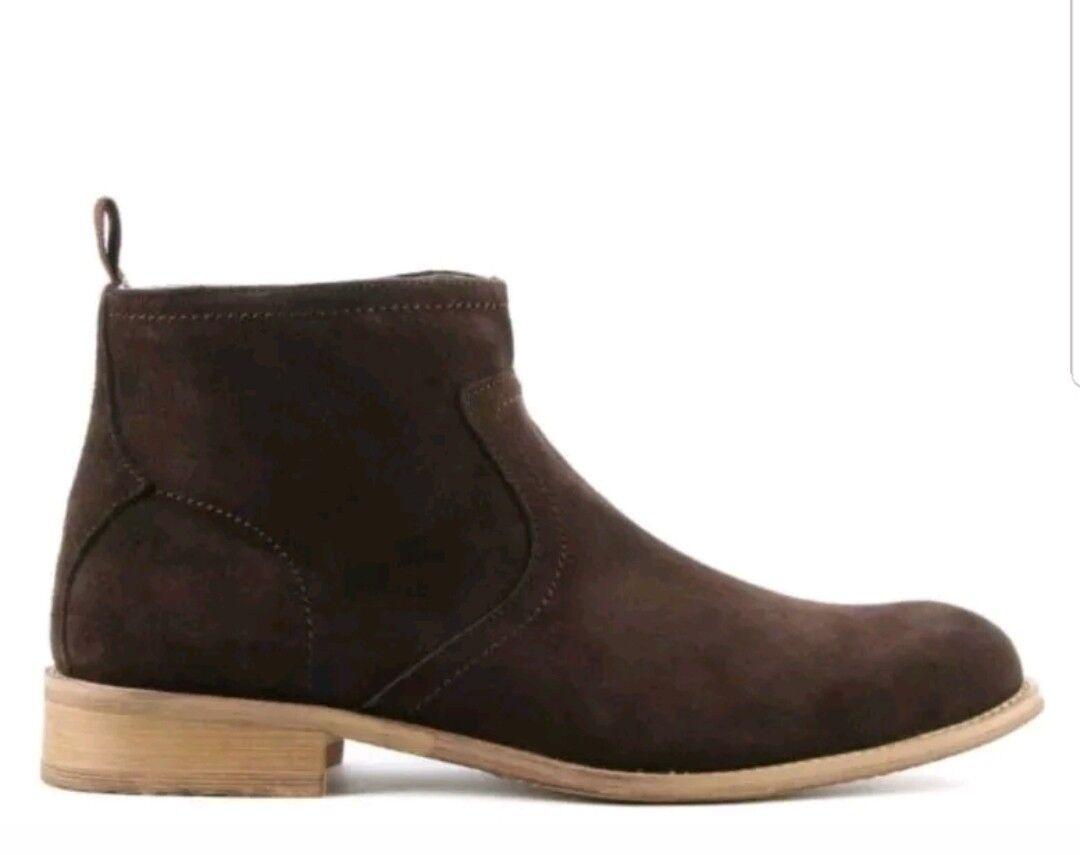 GUCINARI Marrón Gamuza Tobillo botas Para hombres con cremallera lateral talla RRP