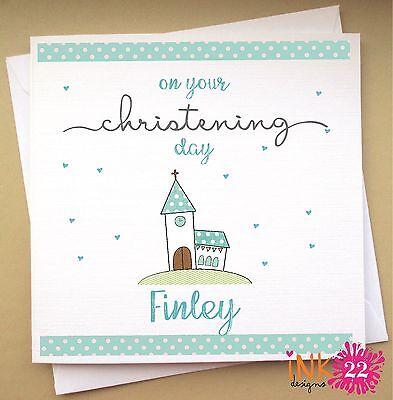 Personalised Christening Card With Cute Giraffe Boy// Girl