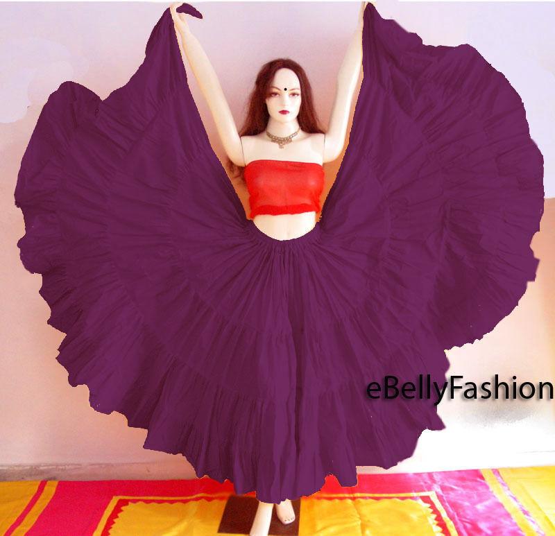 Purple Cotton Gypsy Skirt 4 Tier 25 Yard Belly Dance Tribal Jupe Flamenco Boho