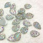 Sparkly Glitter AB Teardrop Shape Resin Acrylic Rhinestone Silver Flat Back