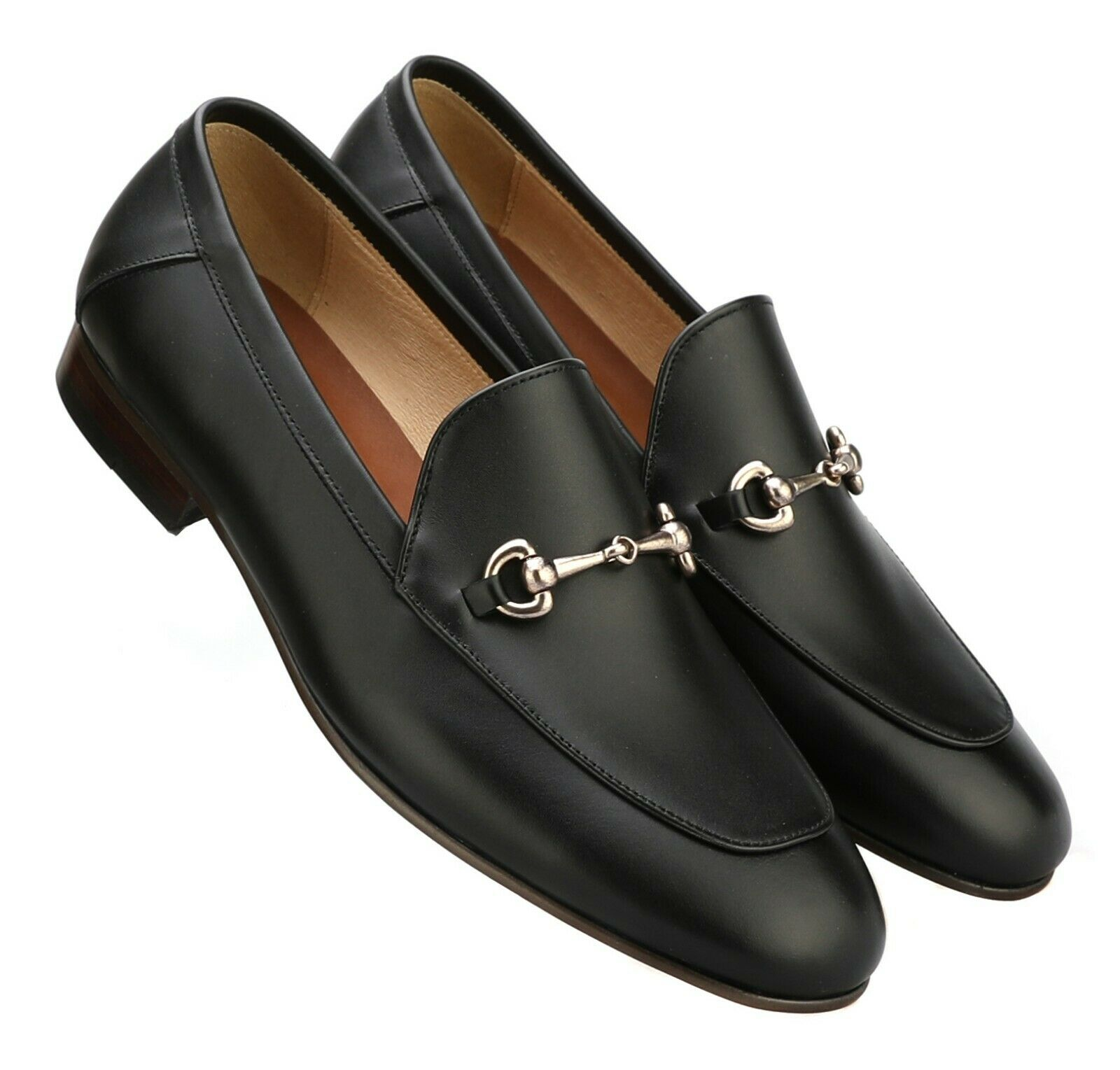Firenze Atelier Men's Handmade BLACK Leather Horse Bit Loafers  Penny Loafers