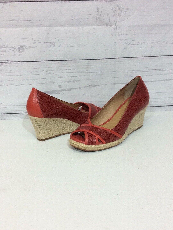 "Nurture Antonia Espadrilles Size 8M Red Leather 2.5"" Heel"