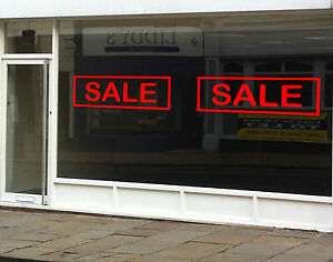 2x SALE Sign Stickers Retail Shop  Window Sign Decal Graphic - Red Vinyl