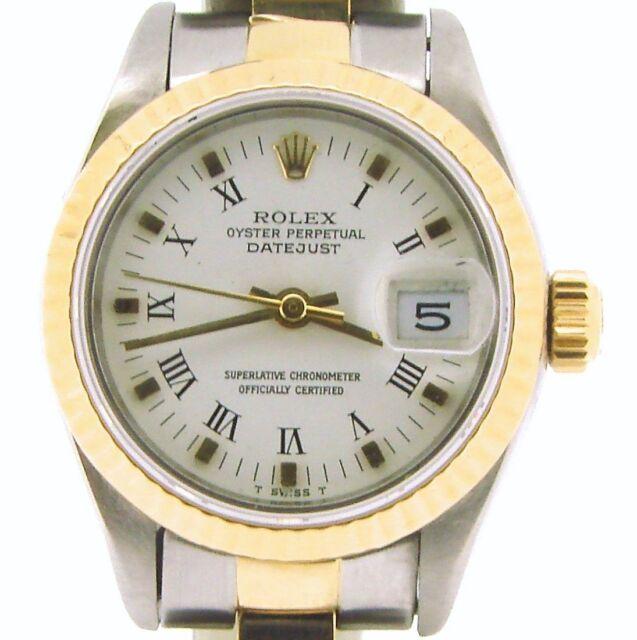 Rolex Datejust Ladies 2Tone 18K & Stainless Steel Watch White Roman Dial 69173