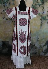Red Black & White Hand Woven & Embroidered Chinantec Huipil Oaxaca Mexico Hippie