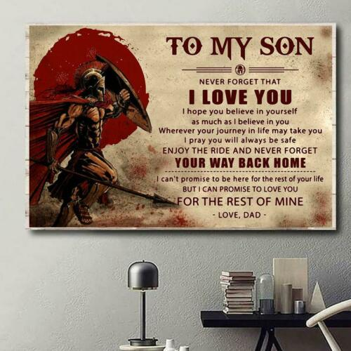 Spartan canvas to my son never forget that I love you
