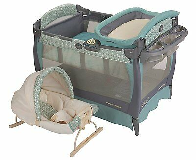 Graco Blue Winslet Cuddle Cove Travel Bassinet Crib Playard Pack n Play Pen NEW