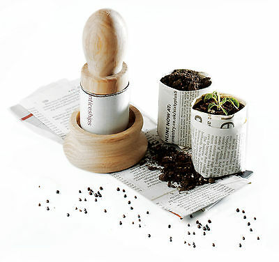 Solid Oak Paper Pot Maker - make plant pots from newspaper! Great gift idea