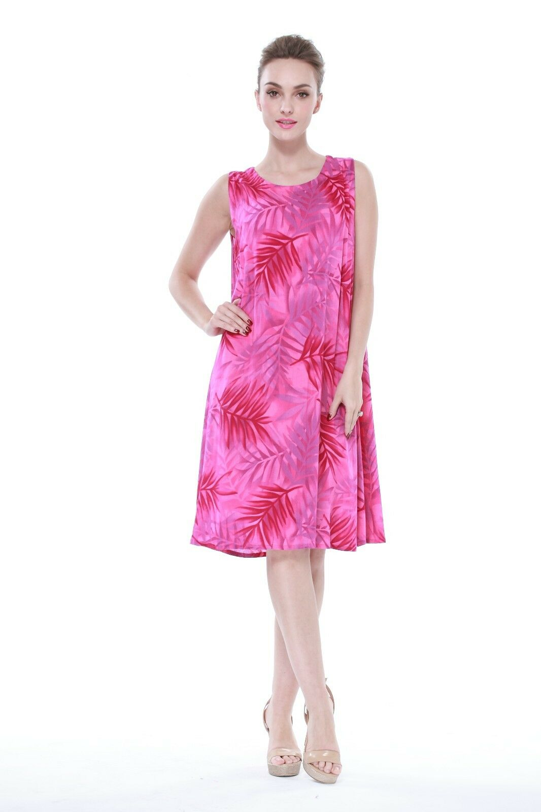 Hawaiian Luau Dress Cruise ALine Waterlily Crinkle Plus Size Floral Pink  Leaf