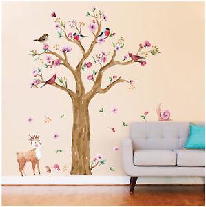 Details Zu Wandtattoo Aufkleber Reh Schnecke Baum Vögel Wald Kinderzimmer Baby Kind Sticker