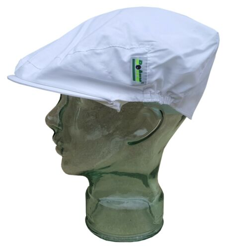 BOTRA Mens Peak Cap Bowls Showerproof Teflon Coated Soft Cotton White One Size