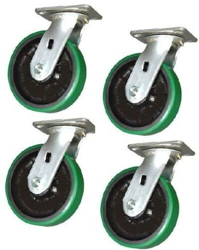 "Green 2400# Cap. 4 Durable Swivel Plate Casters 4/"" x 2/"" Polyurethane Wheel"