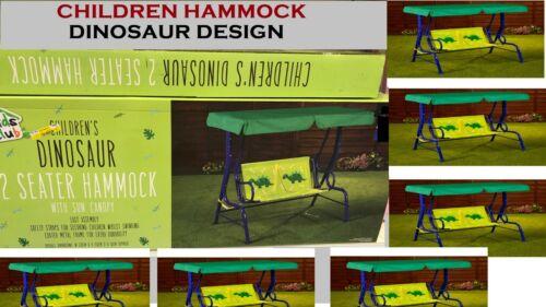 Jardin Patio Extérieur Métal Balançoire Chaise Enfants Dinosaure 2 Places Hamac Rouge