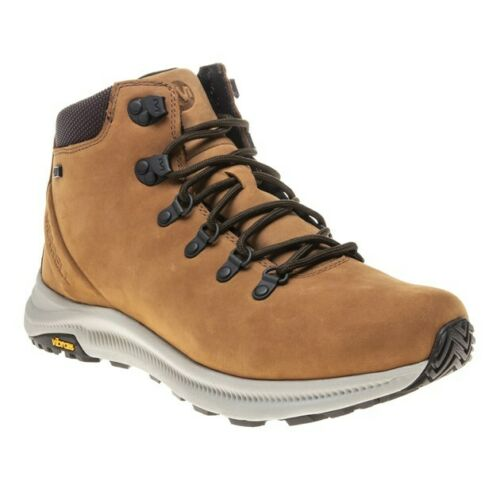 New Mens Merrell Tan Ontario Leather Boots Lace Up