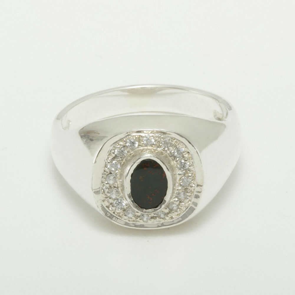 9ct White gold Natural Bloodstone & CZ Mens Signet Ring - Sizes N to Z