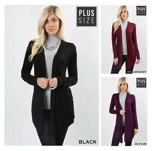 32fe8016bfd3 Image is loading Plus-Size-Solid-Cardigan-Black-Burgundy-Plum-Purple-