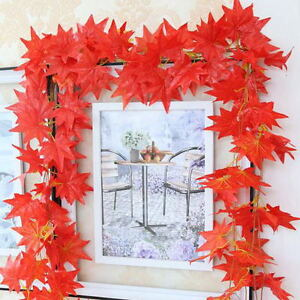 2-3M-Elegant-Red-Autumn-Leaves-Garland-Maple-Leaf-Vine-Fake-Foliage-Home-Decor