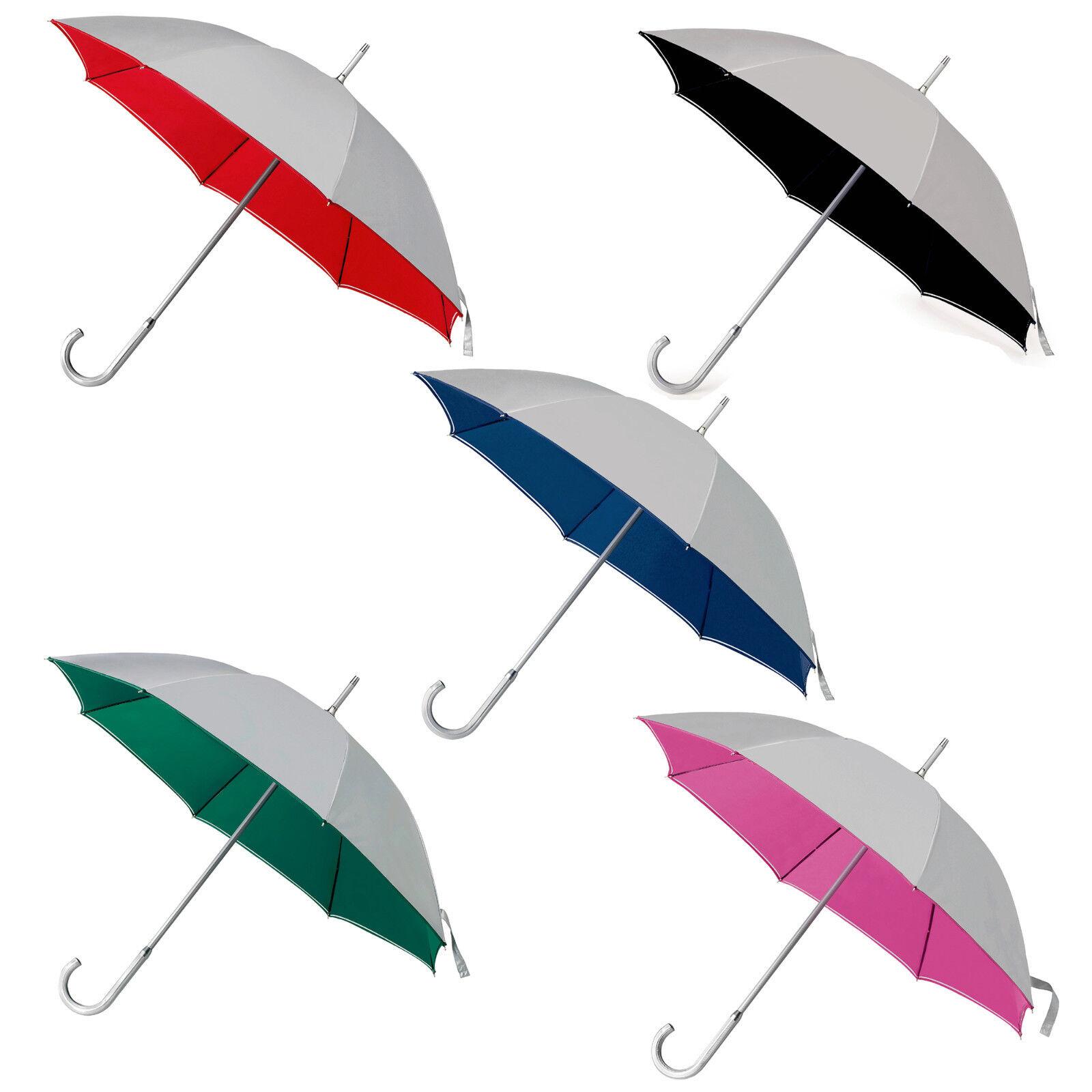 3 duo coloured silver classic manual umbrellas with an aluminium handle 104 cm